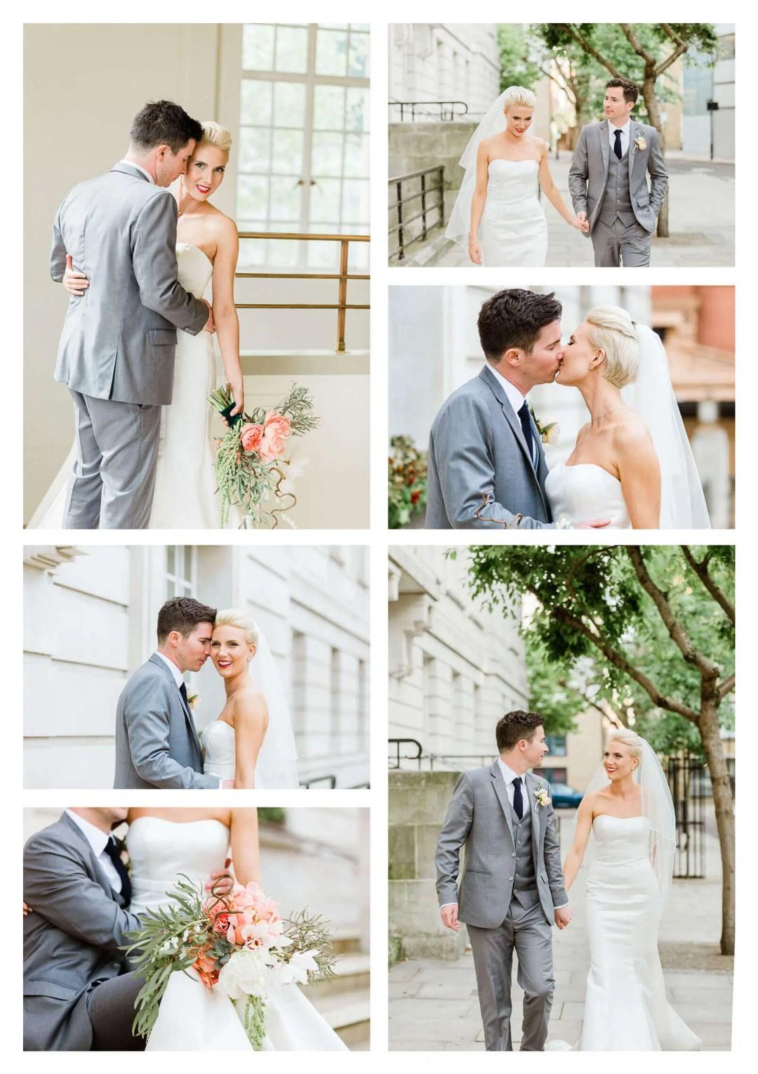 Hackney Town Hall couple portraits bride with short hair | London wedding photographer