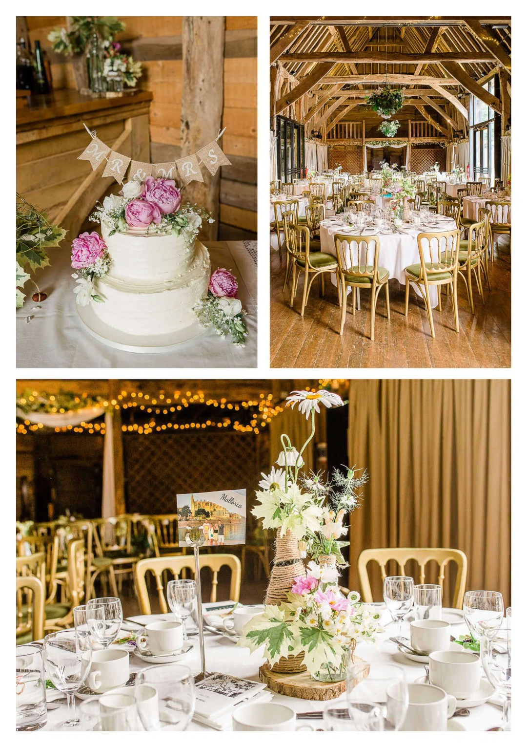 Michelham Priory Barn wedding breakfast decorations | East Sussex Wedding Photographer