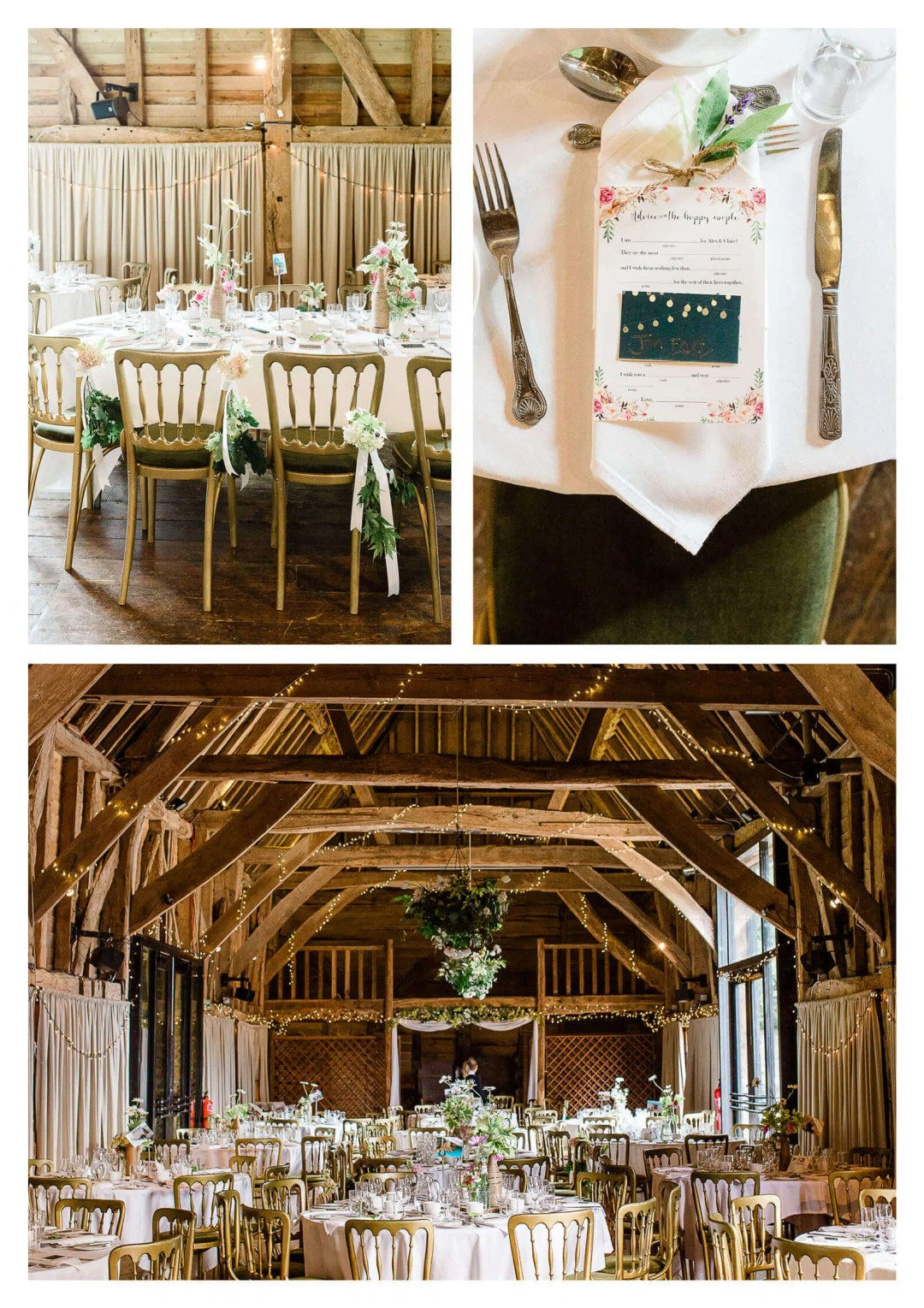 Michelham Priory Barn wedding breakfast details with green and gold chairs | East Sussex Wedding Photographer in Hailsham