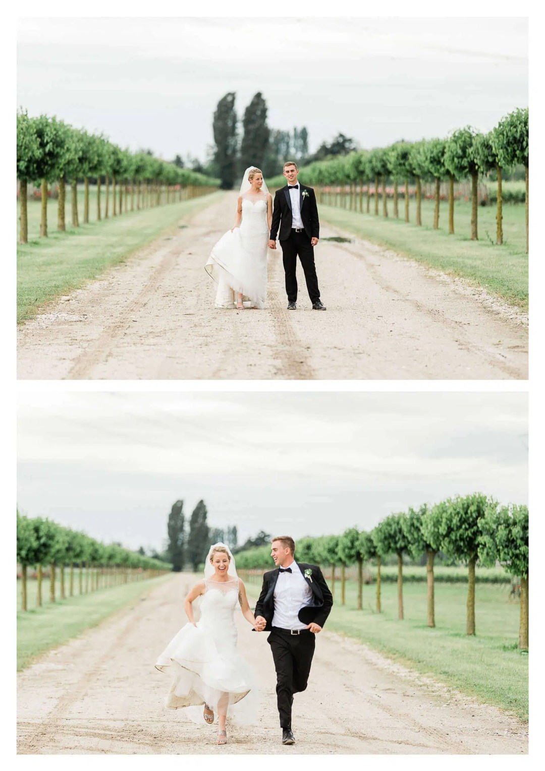 Wedding couple portraits of bride and groom running in vineyard | Destination wedding photographer