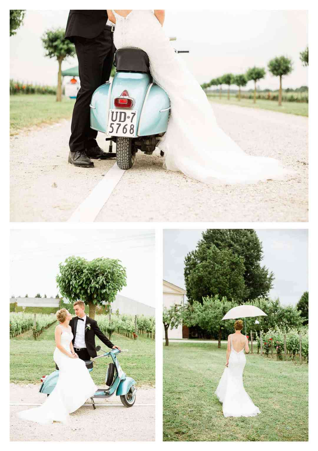 Wedding couple and moped in Italy at vineyard | Fossa Mala wedding photogarpher