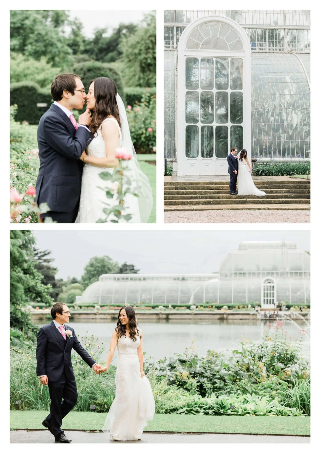 Kew Garden wedding couple portraits in rose garden   London photographer