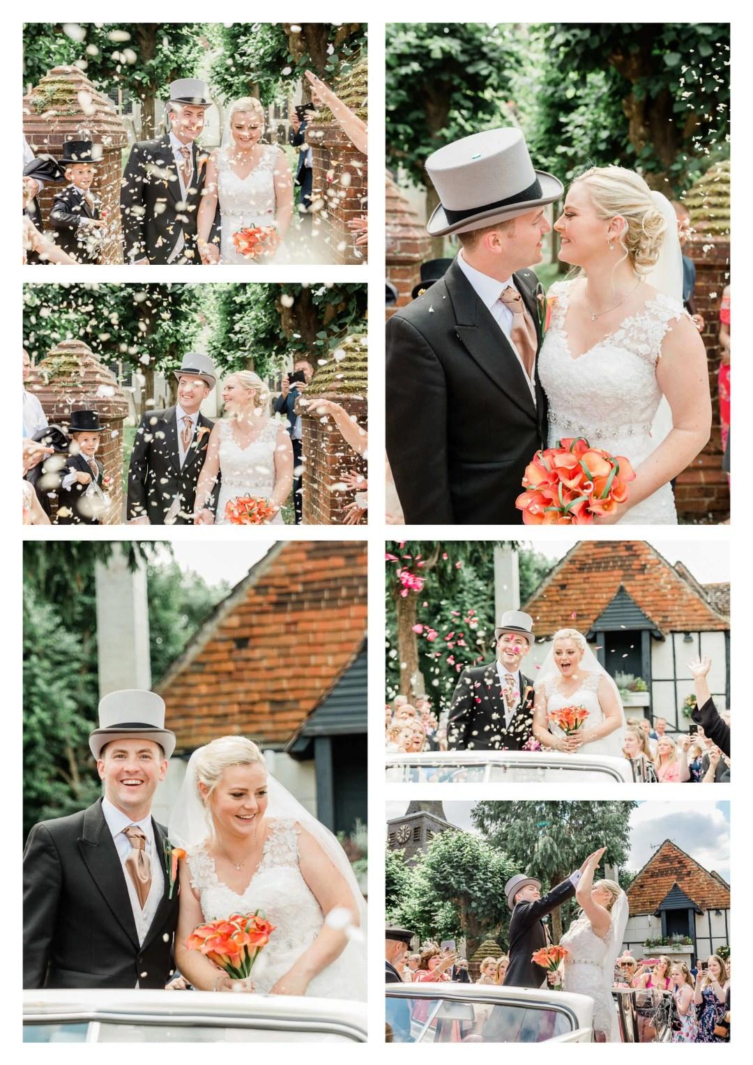 St Bartholomew's Church wedding confetti tunnel   Surrey Photographer