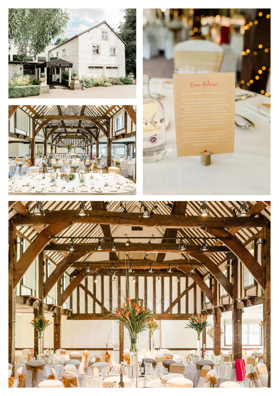 Tithe Barn at Mercure Box Hill Burford Bridge Hotel wedding venue motorcycle race theme