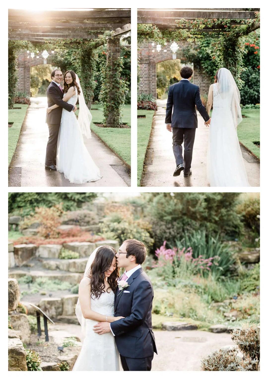 Wilden Bride wedding dress couple portraits at Kew Gardens   London photographer