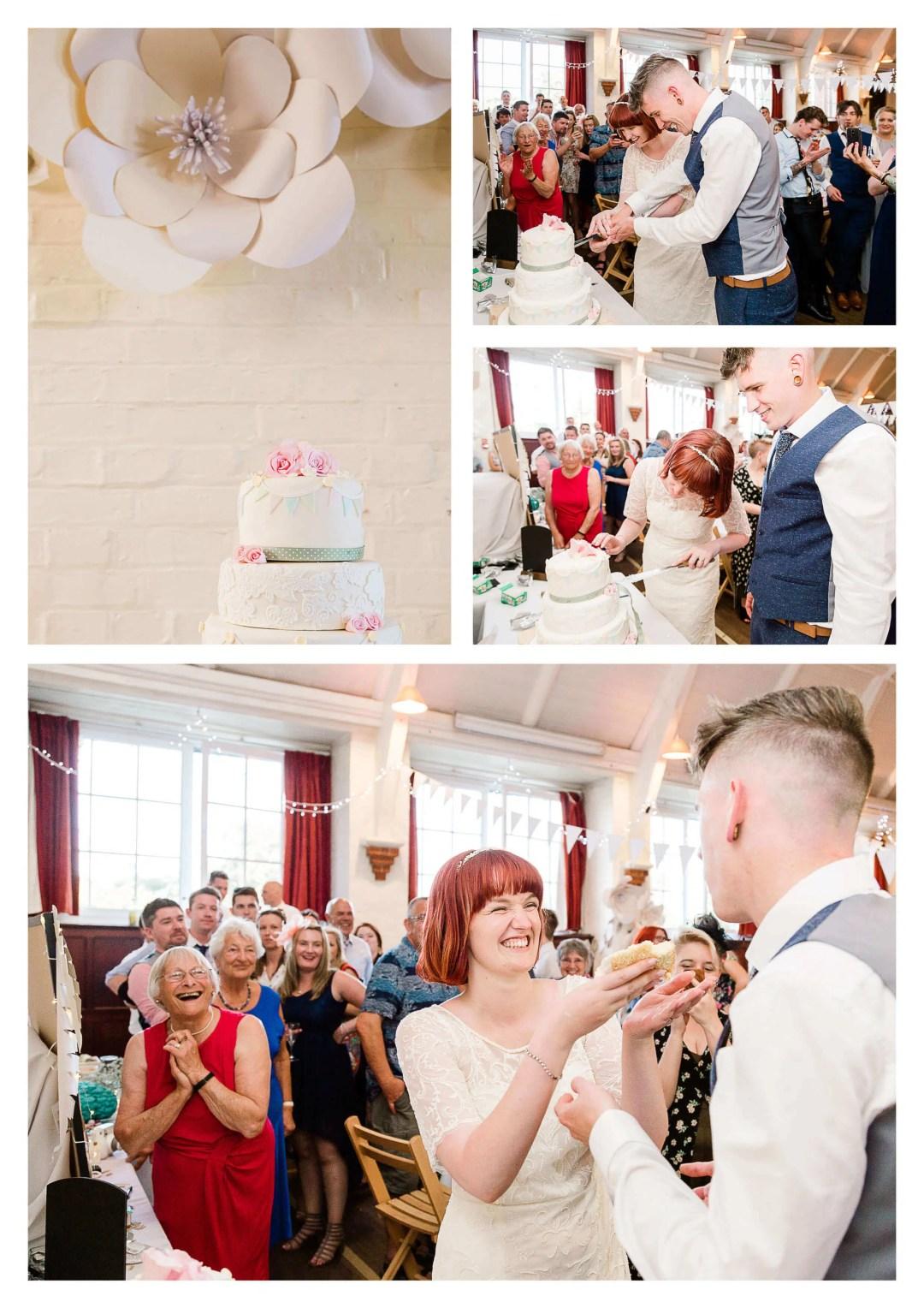 Worplesdon Memorial Hall wedding cake cutting photography | Guildford Photographer