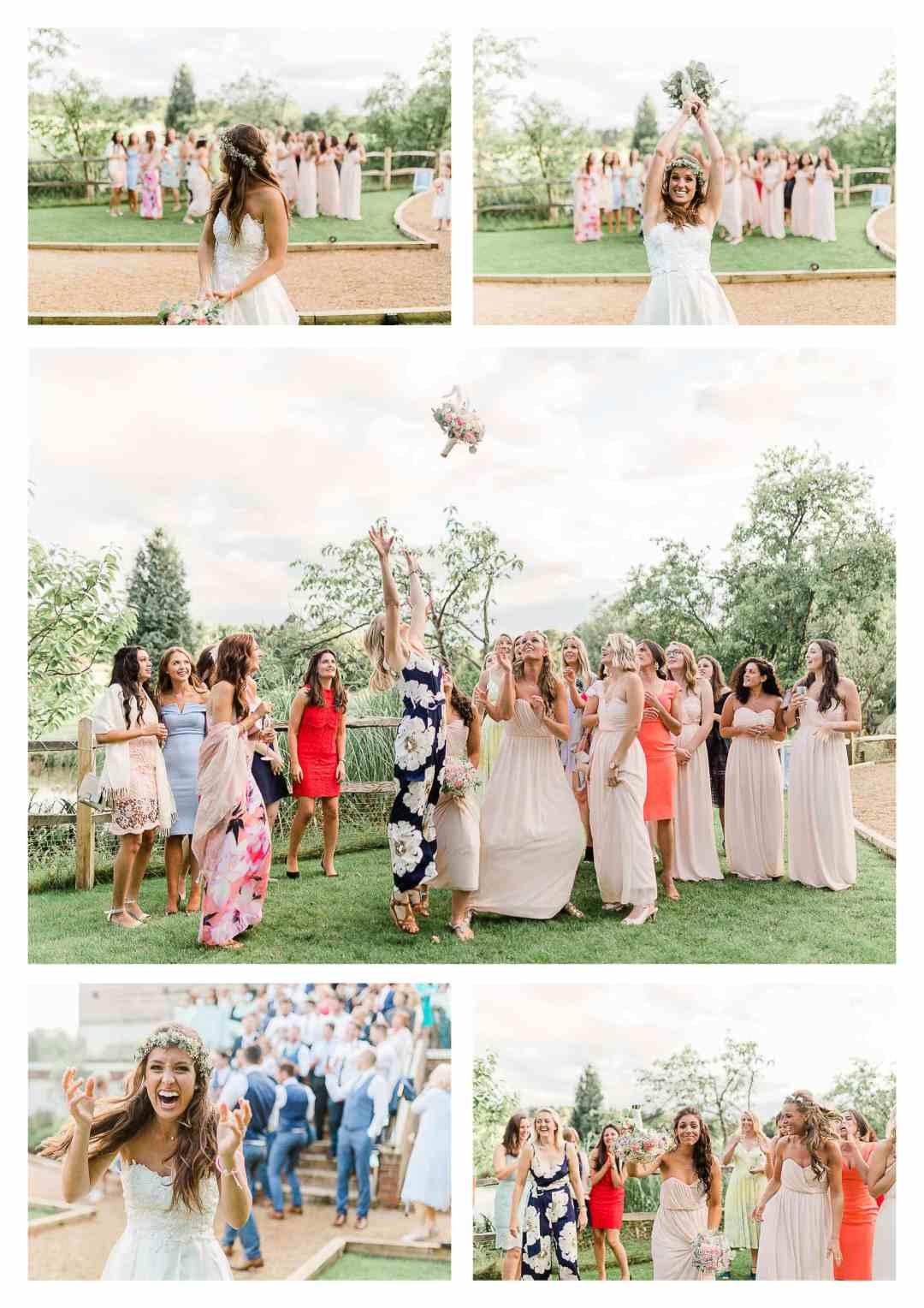 Bouquet toss at Brookfield Barn Horsham wedding venue