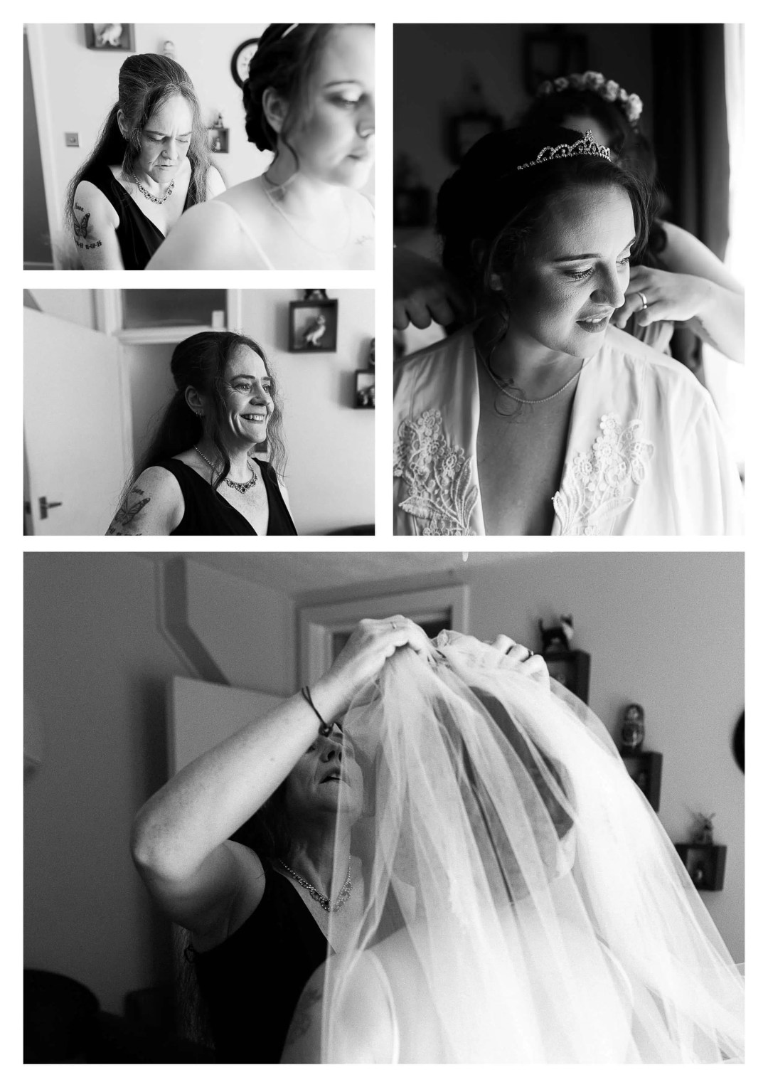 Bride getting ready for Lewes Castle Wedding