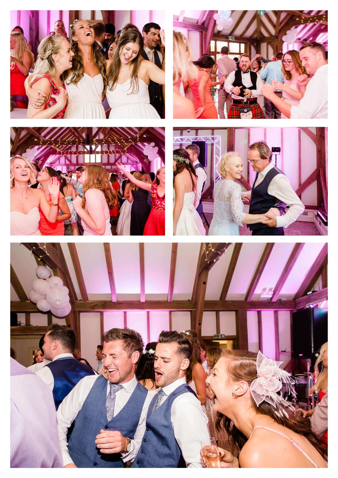 Brookfield Barn pink uplighting | Horsham wedding photographer