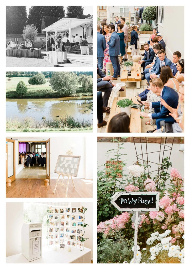 Brookfield Barn wedding pictures in Horsham Wedding Postbox and patio with view of pond with ducks