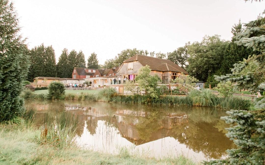 Brookfield Barn wedding photos | outside of venue at night