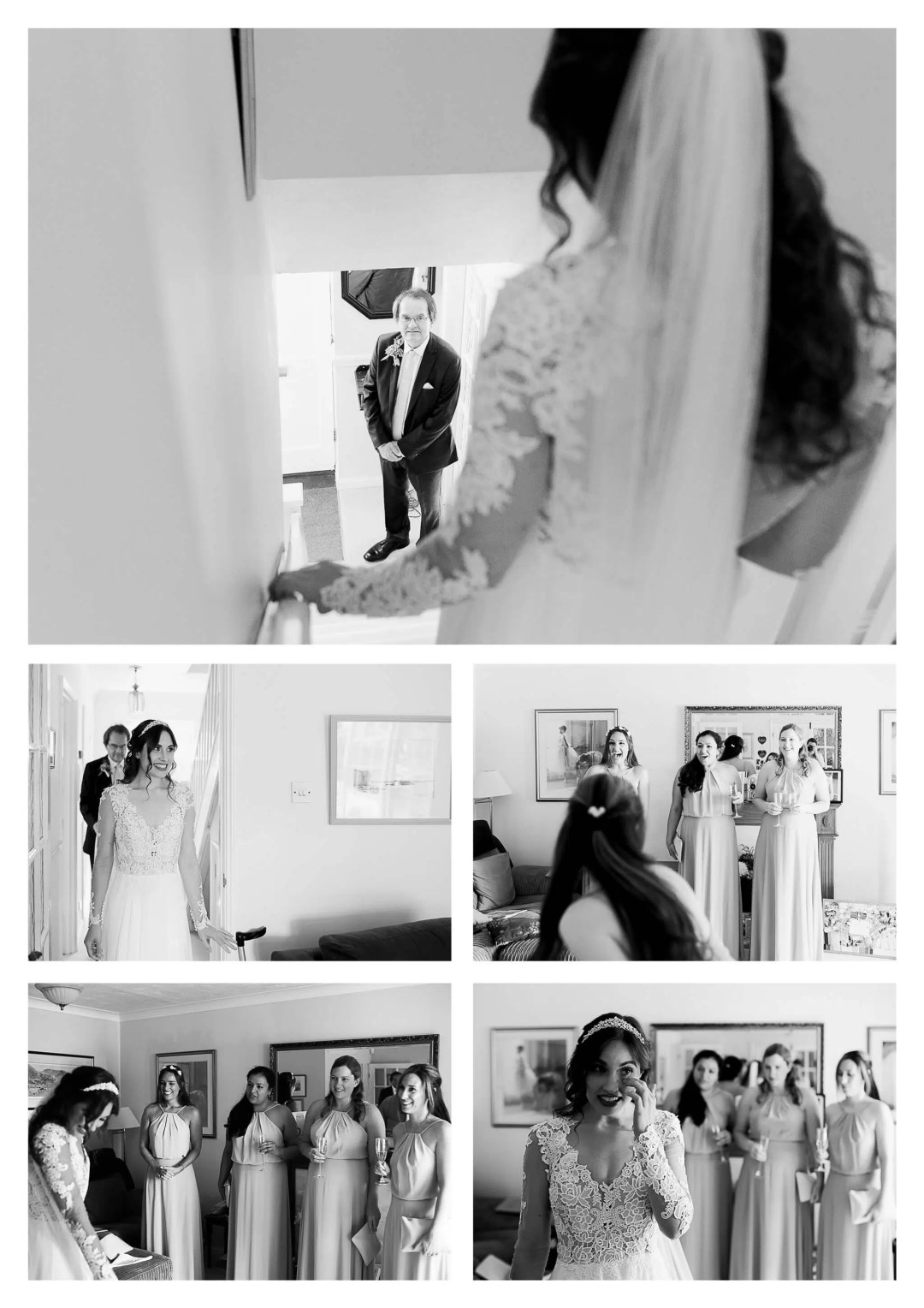 Bridesmaids and father first look | Buxted Park Hotel wedding photographer