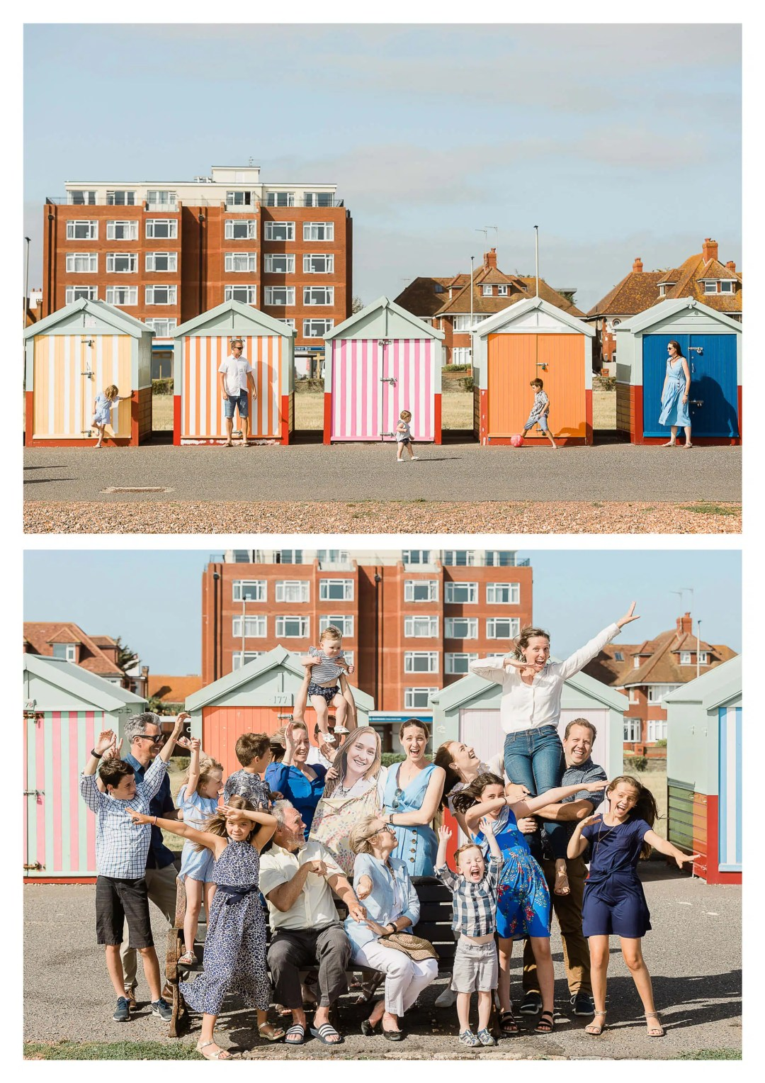 Family photography at beach huts in Brighton in Hove