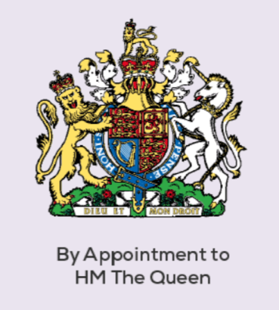 Royal Warrant by appointment to the Queen