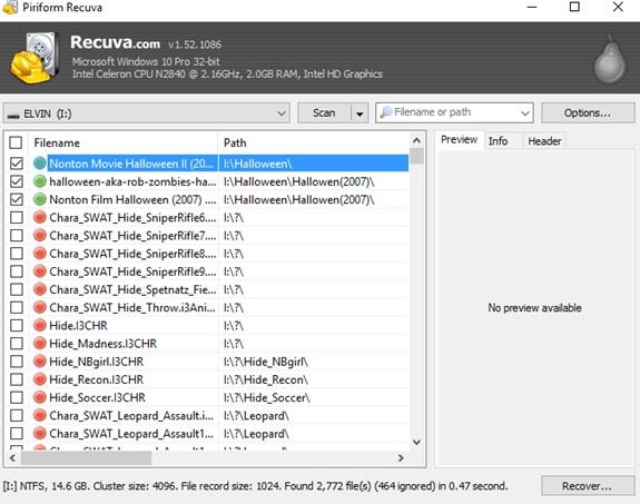 Cara Mengembalikan File Yang Telah Terhapus Dengan Recuva