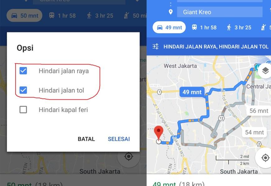 Setting Google Maps Untuk Menghindari Jalan Tol dan Jalan Raya