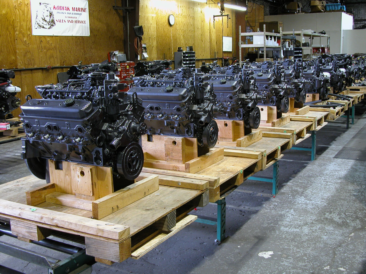 hight resolution of kodiak marine engine production line