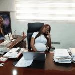 Pregnant Linda Ikeji Doze off at work