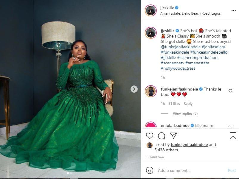 Actress Funke Akindele husband JJC Skillz showers praise on his wife
