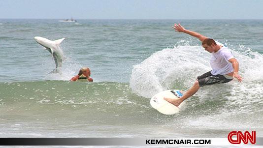 Tiburon saltando en Smyrna beach(Foto de CNN)