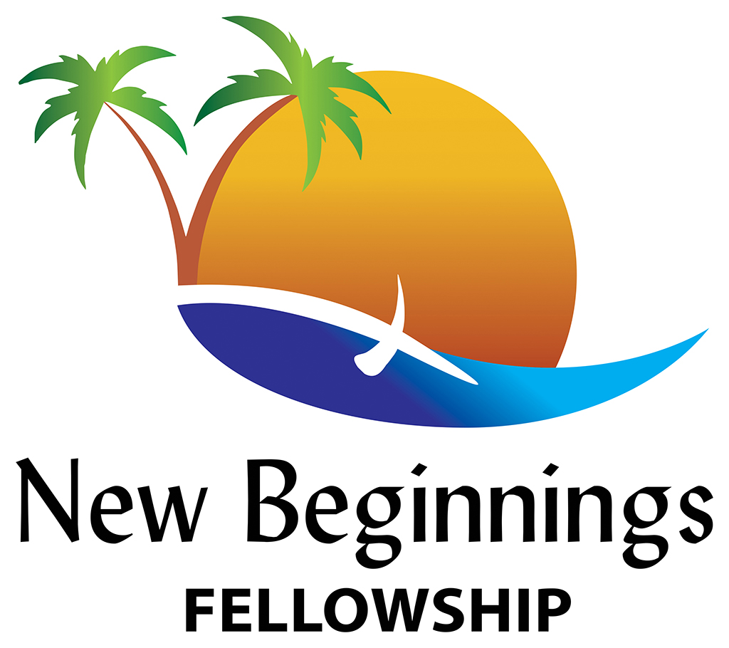 New Beginnings Fellowship Logo Redesigned by Kemp Design Services. Church Logo design features palm trees, sun and cross on water.
