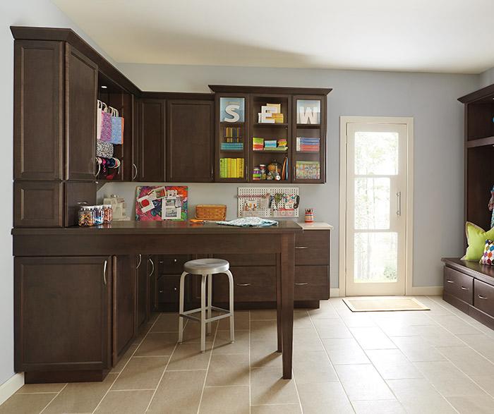 Dark Maple Craft Room Cabinets  Kemper Cabinets