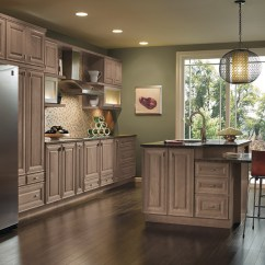 Cherry Wood Kitchen Cabinets Tall Square Table Dark Gray - Kemper Cabinetry