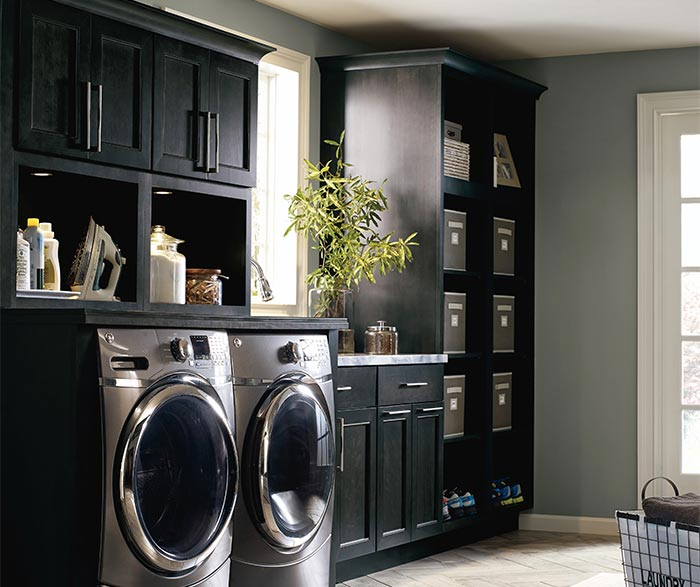 Dark Gray Laundry Cabinets  Kemper Cabinetry