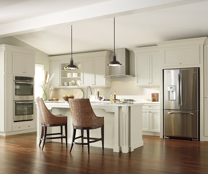 off white kitchen cabinets gray floor - kemper cabinetry