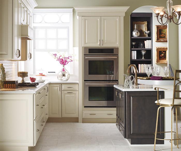 off white kitchen cabinets corner table kemper cabinetry herrington