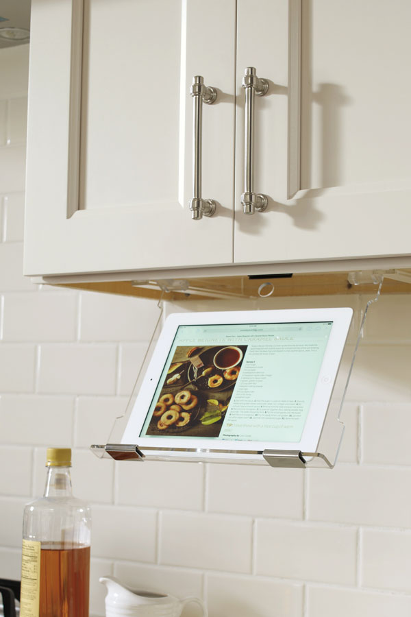 kitchen cabinet hardware small white table tablet holder - kemper cabinetry