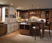 Cherry Cabinets with Painted Kitchen Island - Kemper