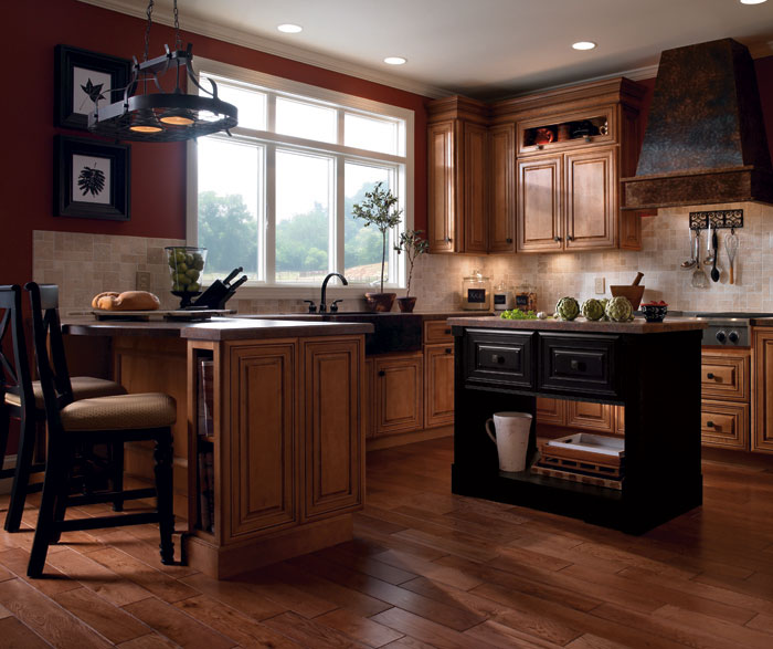 Cherry Cabinets with Painted Kitchen Island  Kemper