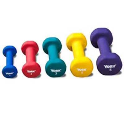 Neoprene Coated Dumbbells - Set of 10 - 1lb to 5 lbs