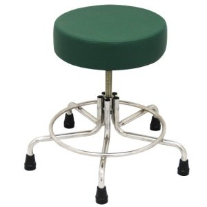 """Non-Magnetic MRI Adjustable Stool, 15"""" to 21"""" with Rubber Tips - Green"""