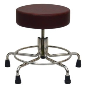 """Non-Magnetic MRI Adjustable Stool, 21"""" to 27"""" with Rubber Tips - Burgundy"""
