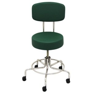 "Non-Magnetic MRI Adjustable Stool, 22"" to 28"" with Back - Green"