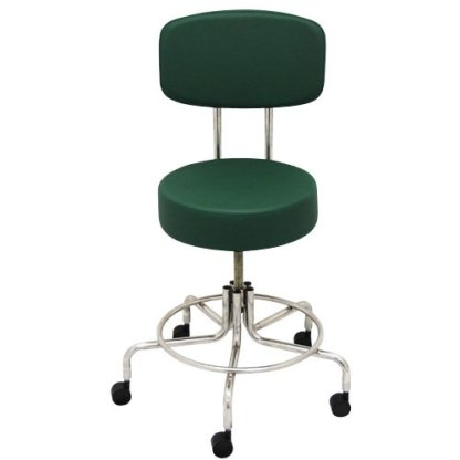 """Non-Magnetic MRI Adjustable Stool, 22"""" to 28"""" with Back - Green"""