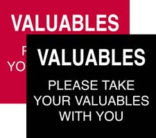 Sign: Valuables