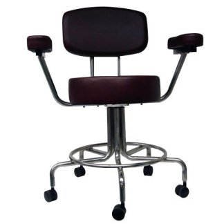 "Non-Magnetic MRI Adjustable Stool, 22"" to 28"" with Back & Arms - Burgundy"