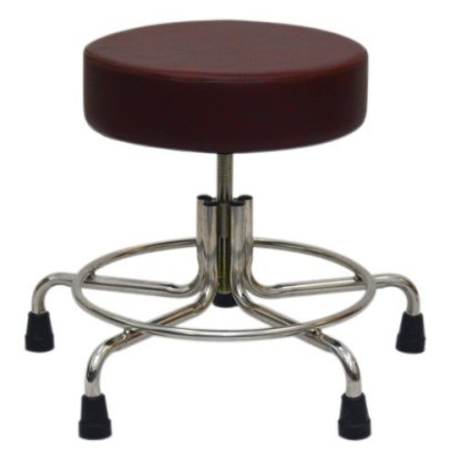 "Non-Magnetic MRI Adjustable Stool, 15"" to 21"" with Rubber Tips - Burgundy"
