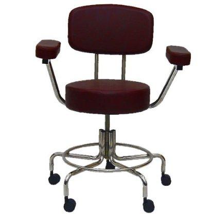 """Non-Magnetic MRI Adjustable Stool, 16"""" to 22"""" with Back & Arms - Burgundy"""