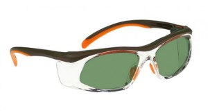 Model 206 Glassworking Safety Glasses - Light Green Filter - Orange and Brown with Clear Side Shields