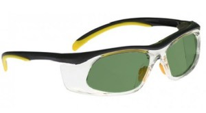 Model 206 Glassworking Safety Glasses - Light Green Filter - Yellow and Black with Clear Side Shields
