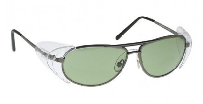 Industrial Metal Glassworking Safety Glasses - Light Green Filter - Pewter