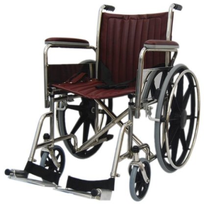 """MRI Wheel Chair 18"""" with Removable Arms and Fixed Footrests - Burgundy"""