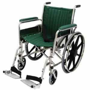 "20"" Wide Non-Magnetic MRI Wheelchair w/ Detachable Footrests - Green"