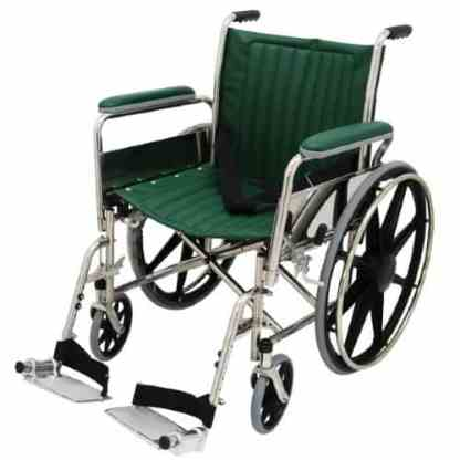 """20"""" Wide Non-Magnetic MRI Wheelchair w/ Detachable Footrests - Green"""