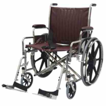 """22"""" Wide Non-Magnetic MRI Wheelchair w/ Detachable Footrests - Burgundy"""
