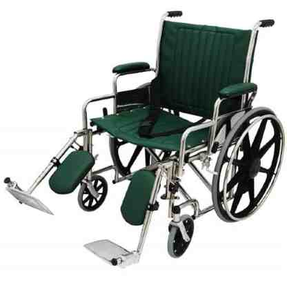 "22"" Wide Non-Magnetic MRI Wheelchair w/ Detachable Elevating Legrests - Green"